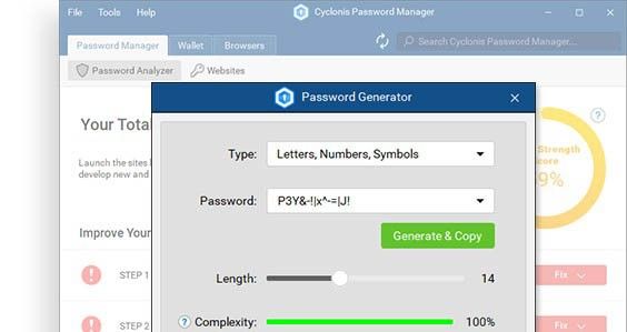 How to Use Cyclonis Password Manager to Create Complex Passwords in Your Browser screenshot