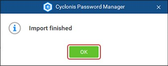 cyclonis password manager import data