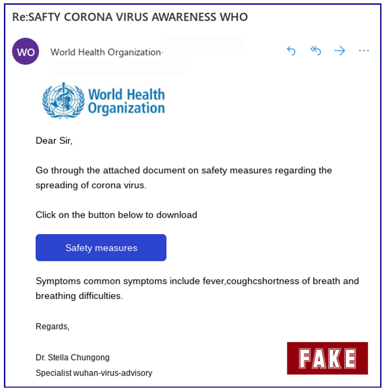 world health organization email scam