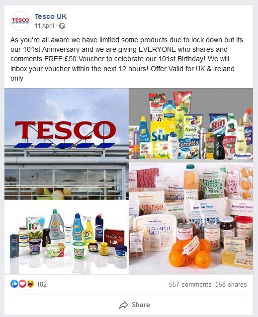 A Similar Tesco Scam From April