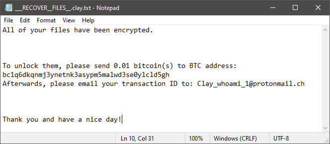 Gray Hat Ransomware Ransom Note