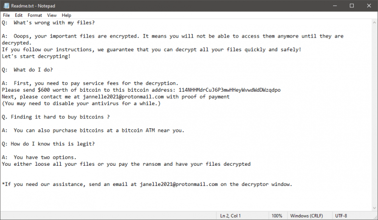 JANELLE Ransomware Ransom Note