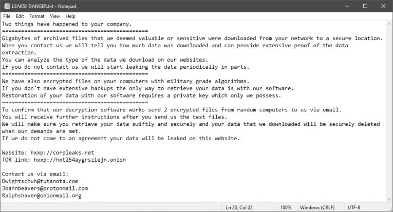 LEAKS Ransomware Ransom Note