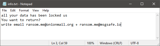 RME Ransomware Ransom Note