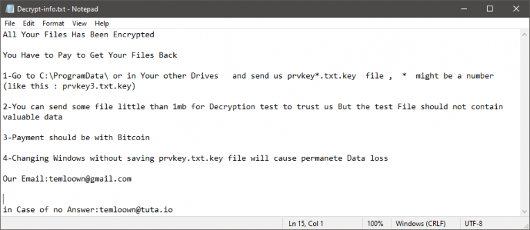 Temlo Ransomware Ransom Note