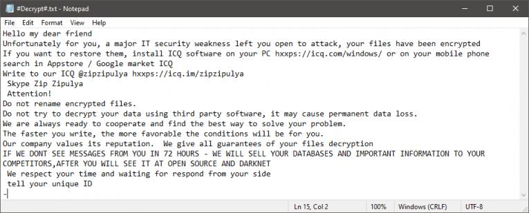 Zip Zipulya Ransomware Ransom Note