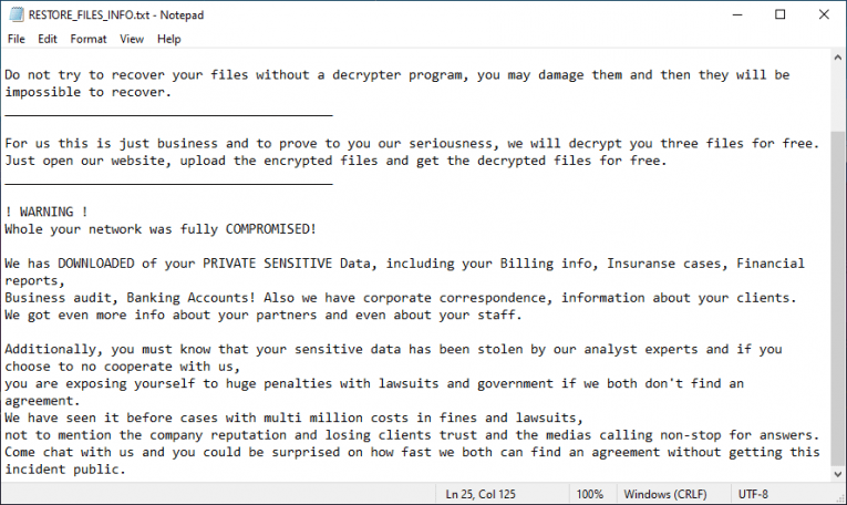 Spook Ransomware Ransom Note