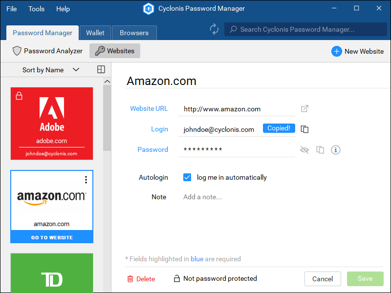 Cyclonis Password Manager Screenshot