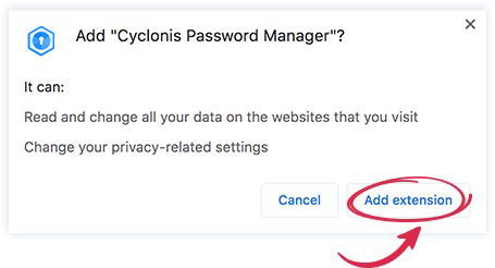 Cyclonis Password Manager Add Browser Extension - Cyclonis